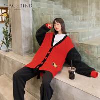 哥斯拉红色宽松针织开衫外套女2019新款冬单排扣中长款毛衣太平鸟