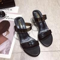 网红透明凉拖女夏外穿水晶鞋2019新款时尚夏天高跟潮粗跟拖鞋