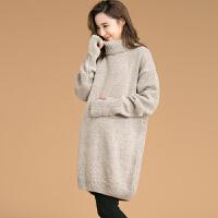 大码中长款上衣冬装 时尚韩版孕妇装秋冬厚保暖高领套头毛衣宽松
