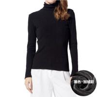 莫代尔棉打底衫黑白高领紧身大码长袖T恤 加绒加厚女修身上衣