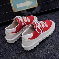 低帮板鞋学生韩版运动鞋ulzzang原宿风休闲鞋冬季百搭女鞋子潮ins 红色 H1817K