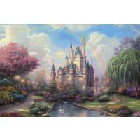 x托马斯油画【梦幻城堡】世界名画木质拼图1000片进口材质休闲玩具