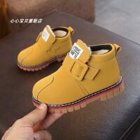 宝宝马丁靴3-5岁男童鞋软底短靴子秋冬季女童中小童儿童加绒棉靴