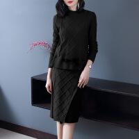 2019新款裙子女秋季新款韩版针织两件套宽松包臀毛衣裙秋冬套装连衣裙