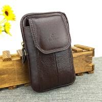牛皮手机腰包男士穿皮带竖款5.5寸多功能皮套挂腰包手机包男 棕色