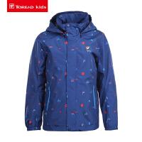 【限时抢购价:174元】探路者儿童冲锋衣 19春夏户外男童单层旅行防风风雨衣 QABH83044