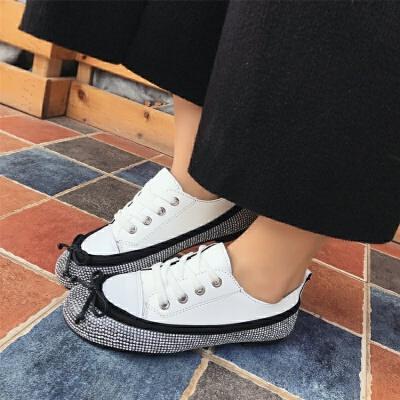 水钻平底单鞋女韩版2018春季新款学生休闲系带圆头内增高百搭女鞋 白色 偏小一码