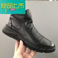 新品上市18冬季新款工销男士靴子侧拉链软底加绒马丁靴牛皮男士棉靴