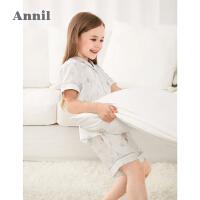 【2件4折价:135.6】安奈儿童装女童夏季睡衣套装2021新款洋气千鸟格家居服女孩空调衫