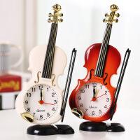 物有物语 仿真小提琴闹钟 创意乐器造型桌面时钟客厅摆件台钟