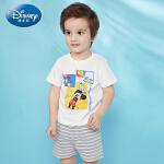 【2件3折价:60.9】迪士尼宝宝男童两件套针织趣味短袖短裤套装夏季新品正品童装2020夏季新款