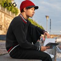 【新款】GXG男装 2020秋季错位拼接藏青色低领毛衫毛衣GA120063G