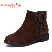 红蜻蜓女鞋秋冬休闲鞋鞋子女加绒短靴WNC6608