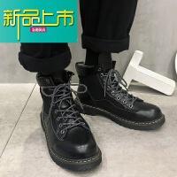 新品上市@小呆~男马丁靴潮流工装靴高帮鞋男厚底系带大头皮鞋男