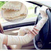 防晒手套骑车加长款开车手套半指蕾丝薄手臂套袖套
