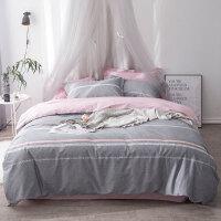 ins绿植床上三件套1.2m全棉小清新床单床笠式纯棉床品四件套