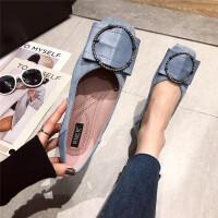 单鞋女2019新款时尚方头镶钻大圆扣蝴蝶结方头软平底单鞋女鞋