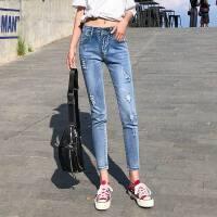 春款韩版牛仔裤女破洞弹力九分学生小脚裤修身显瘦铅笔裤子
