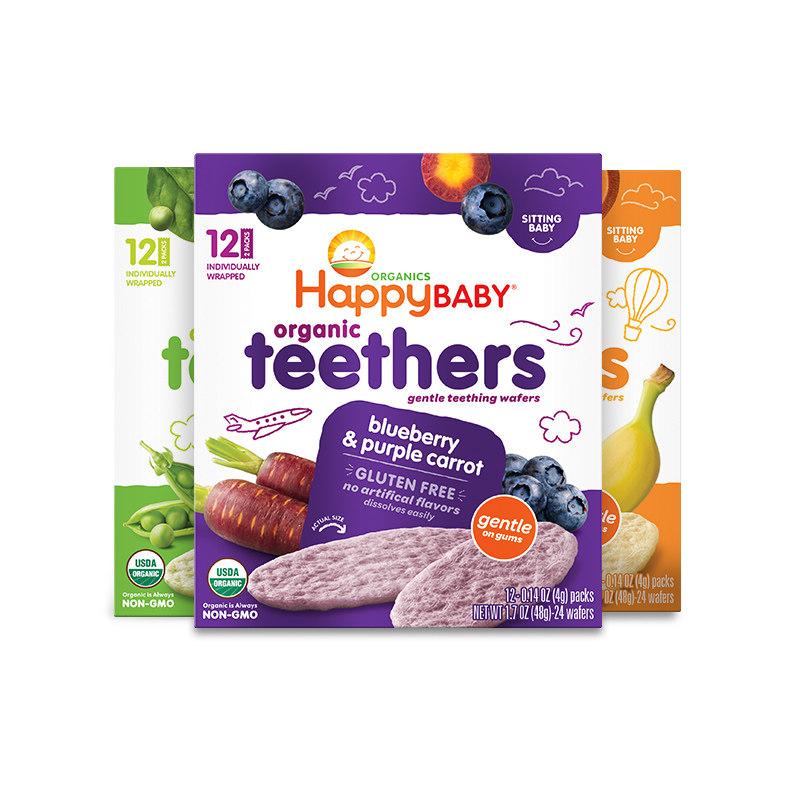 【3盒装】美国直邮 Happy Baby 禧贝 豌豆菠菜/蓝莓紫薯/香蕉甜薯磨牙棒饼干 48g*3盒 包邮包税