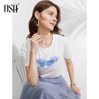 【2件1.5折价:109元】OSA欧莎白色短袖T恤女设计感薄款体恤2021年新款夏装衣服修身圆领上衣