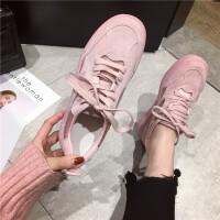 英伦风运动鞋女2019春季新款时尚圆头厚底系带粉色百搭休闲运动鞋