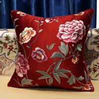 中式古典绣花靠垫抱枕套红木沙发靠枕欧式美式床头大靠背腰枕含芯