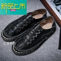 新品上市韩版休闲皮鞋男手工鞋真皮潮流一脚蹬日系复古软底牛皮中国风