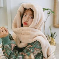 手套帽子围巾一体女冬天韩版百搭可爱兔耳朵保暖雷锋帽护耳毛绒帽