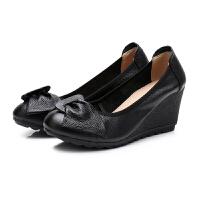 春秋款坡跟�涡�女甜美蝴蝶�Y����鞋高跟皮鞋牛筋底�底工作鞋 黑色 (跟高7厘米)