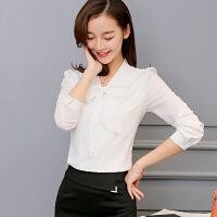 衬衫 女士韩版新款春季装淑女上衣女式长袖荷叶花边白衬衫雪纺衫白领职业装