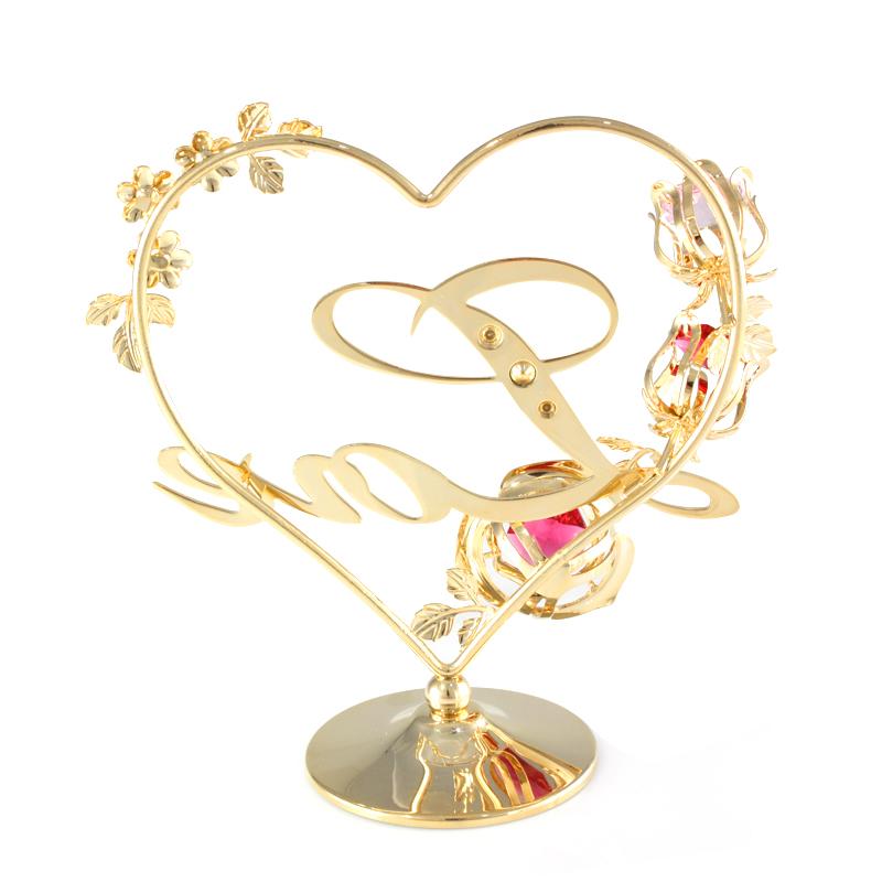 花簇玫瑰love摆件台采用施华洛世奇元素创意送妈妈母亲节礼物