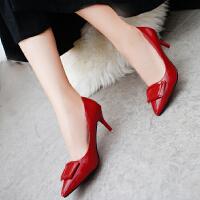 高跟鞋女秋2017新款6cm细跟韩版尖头方扣公主红色婚鞋瓢鞋单鞋皮