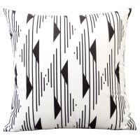 几何黑白布艺沙发垫床头抱枕靠枕套简约现代客厅家用靠垫定制