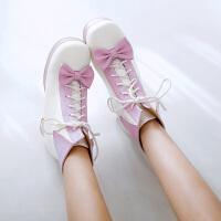 马丁靴鞋日系少女粗跟短靴子18秋冬新款甜美中高跟系带厚底