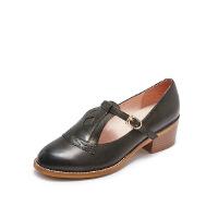 爱旅儿哈森旗下复古T字带粗跟低跟玛丽珍鞋单鞋女EL78201