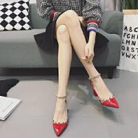 2017新款春季女鞋�涡�子�n版�凸�r尚尖�^高跟鞋粗跟漆皮�r尚�鲂�