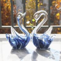 玻璃小天鹅生日礼物小摆件新房装饰品礼品水晶动物琉璃手工工艺品