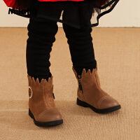 【2件3折后到手价:125.7元】马拉丁童鞋女童短靴冬装2019新款面料拼接设计感儿童靴子