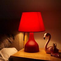北欧式台灯卧室床头创意陶瓷简约现代结婚房婚庆红色陪嫁