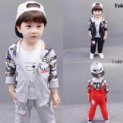 童装男童春季三件套儿童卡通全棉马甲套装