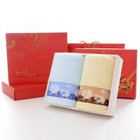 结婚毛巾礼盒套装2条红色棉毛巾双喜字一对结婚庆用回礼伴手礼q 绵阳 蓝+黄 74x34cm