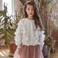 儿童卫衣 女童时尚卫衣2020秋季新款韩版中大童童装棉质白色圆领花边儿童上衣