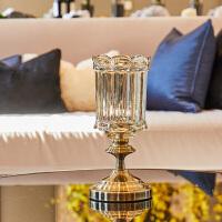 欧式奢华家用水晶玻璃水果盘客厅创意摆件茶几美式干果盘三件套