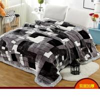 加大拉舍尔毛毯被子双层加厚冬季珊瑚法兰绒床毯单人学生宿舍盖毯k