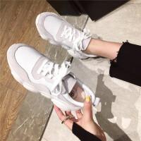老爹鞋女2019新款春季时尚韩版厚底小白鞋复古真皮系带学生女鞋