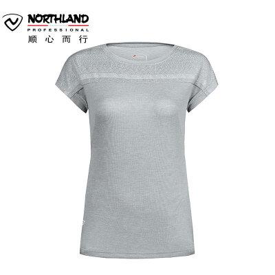 【顺心而行】诺诗兰春夏户外女士快干T恤休闲运动速干短袖 GL062238 一字型立体裁剪 快干 袖口螺纹设计