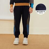 【2件3折价:131.7元】马拉丁童装男童裤子冬装新款拼色休闲运动收口裤运动裤