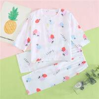夏季棉绸儿童睡衣七分袖男女童宝宝空调家小孩居服薄款套装