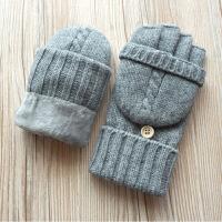 秋冬男士羊毛毛线双层加绒加厚针织保暖小帽半指触屏手套