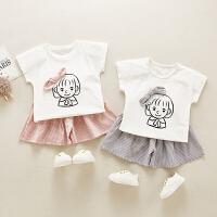 女童装宝宝小童运动休闲两件套婴儿短袖短裤套装